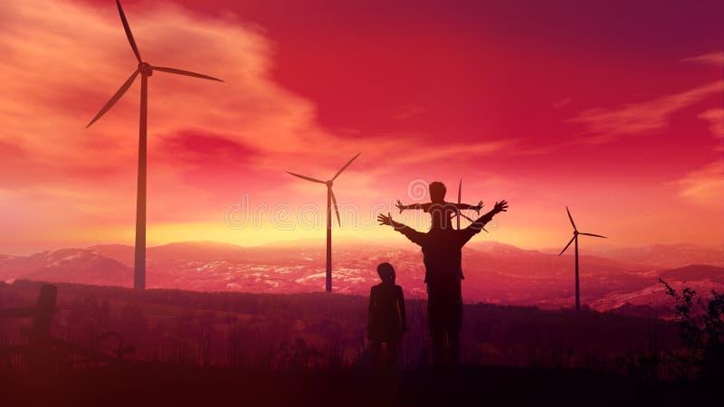 Padre con i bambini che guardano le centrali eoliche al tramonto fotografia stock