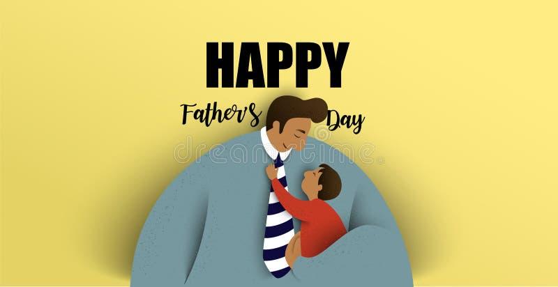 Padre con i suoi bambini Scheda felice del giorno del padre Illustrazione di vettore illustrazione vettoriale