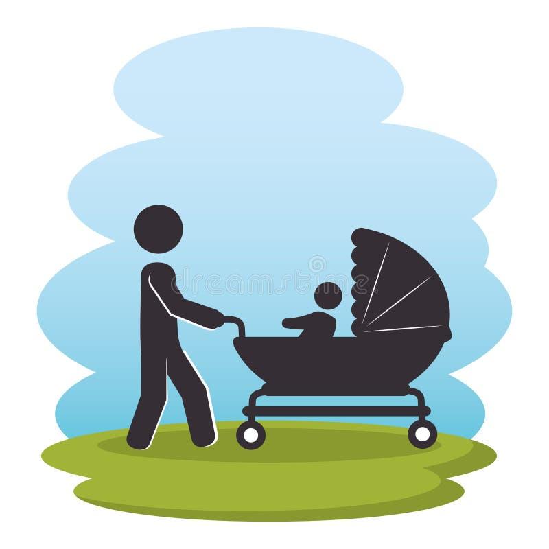 Padre con il bambino sui caratteri della siluetta del parco royalty illustrazione gratis