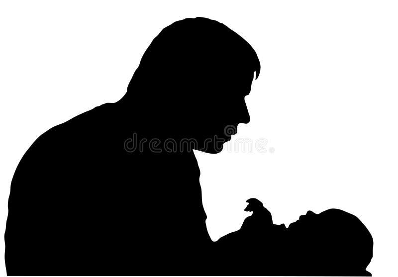 Padre con la siluetta del bambino royalty illustrazione gratis