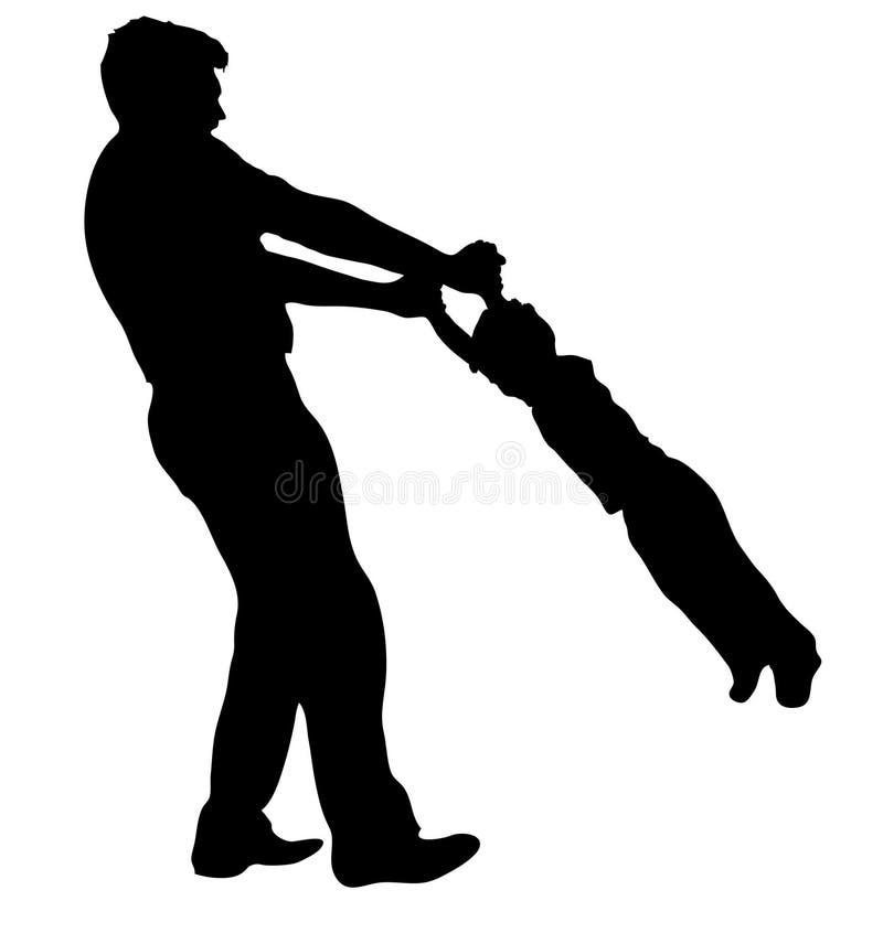 Padre con la siluetta del figlio illustrazione di stock