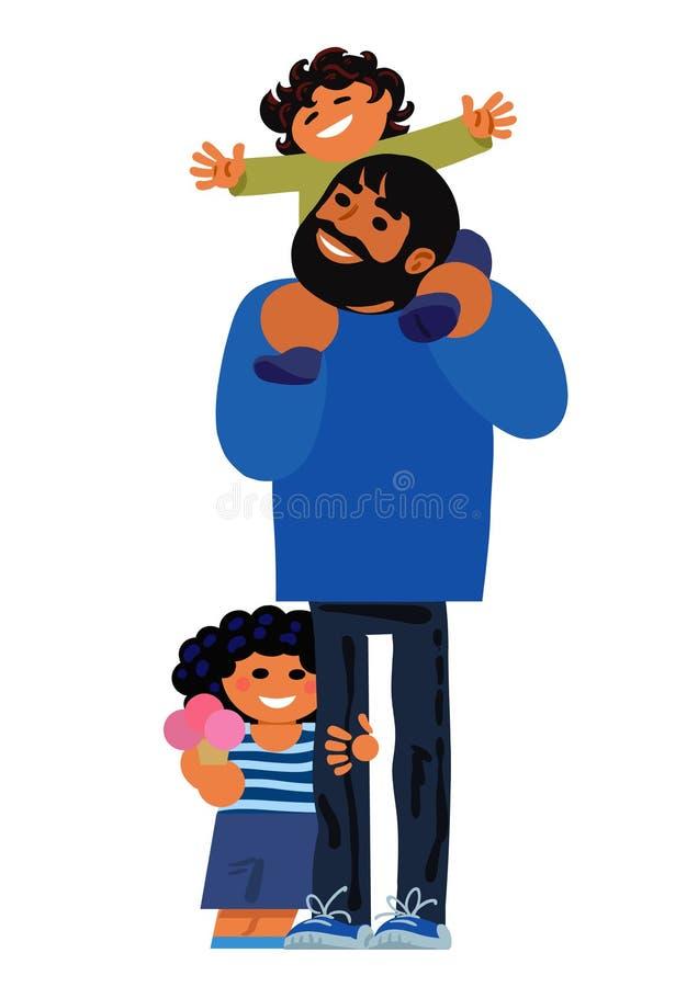 Padre con los niños en un paseo Concepto de familia feliz El papá está llevando a uno de sus pocos hijos en sus hombros, el otro  libre illustration