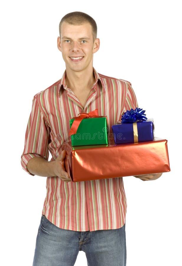 Padre con los regalos fotos de archivo