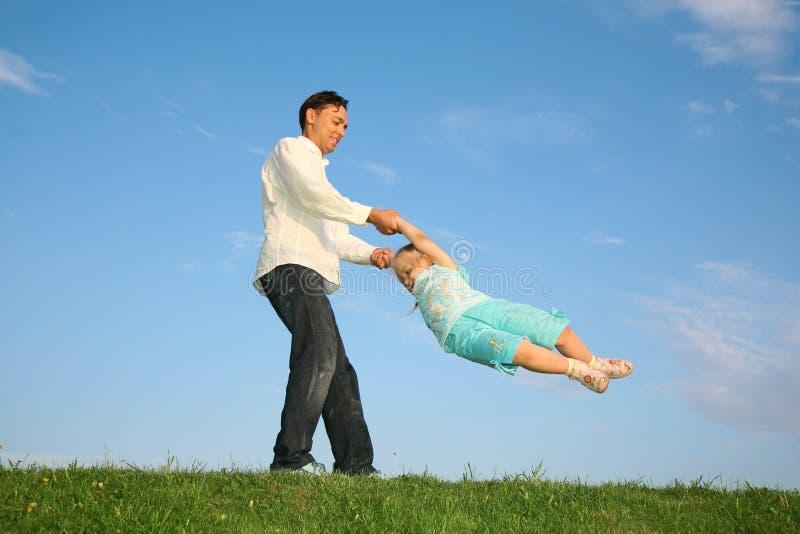 Padre con una figlia fotografia stock