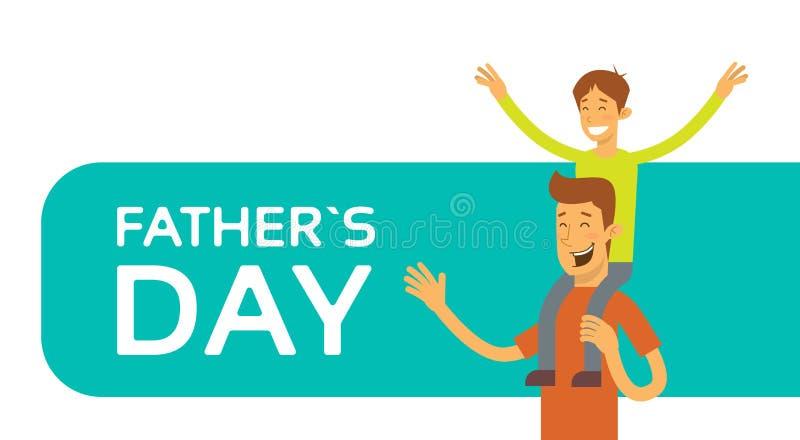 Padre Day Holiday, figlio felice Sit On Dad Shoulder royalty illustrazione gratis
