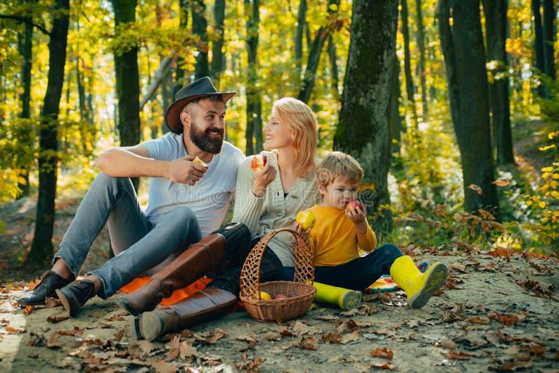 Padre de la madre y peque?a comida campestre del hijo Comida campestre en naturaleza Concepto de las vacaciones y del turismo Fam imagen de archivo