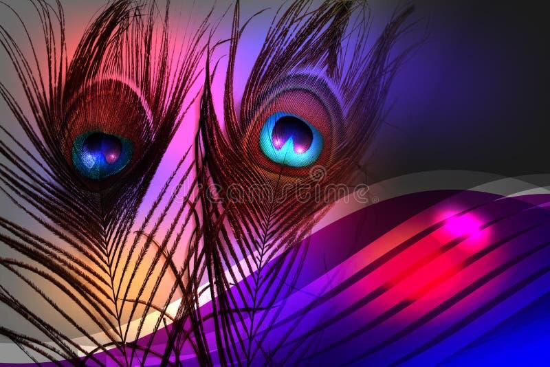 Padre del pavone con fondo protetto multicolore astratto con struttura Illustrazione di vettore illustrazione vettoriale