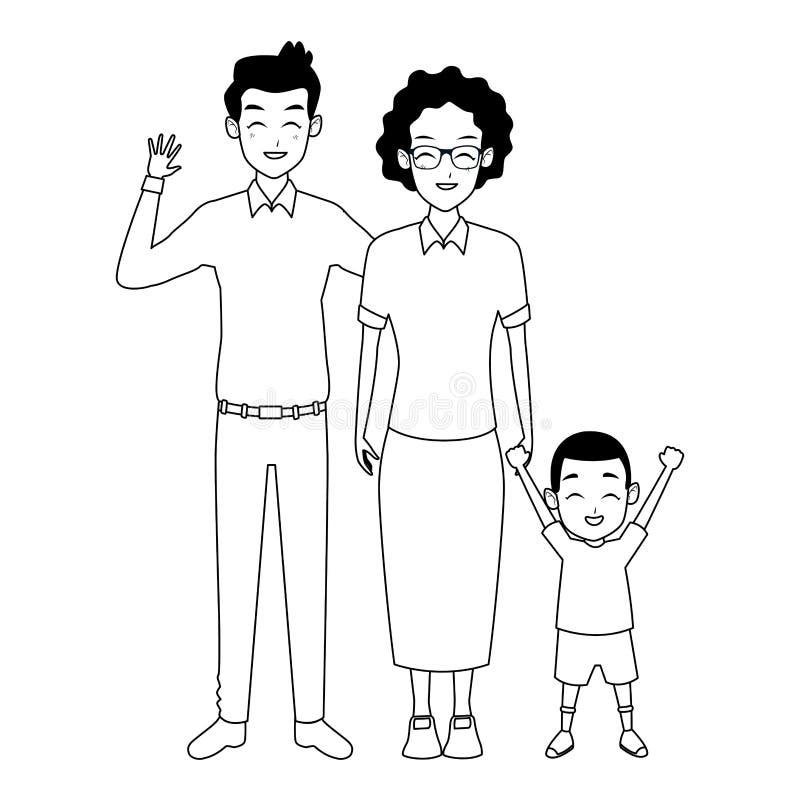 Padre della famiglia e mano della nonna con del ragazzo di afro in bianco e nero royalty illustrazione gratis