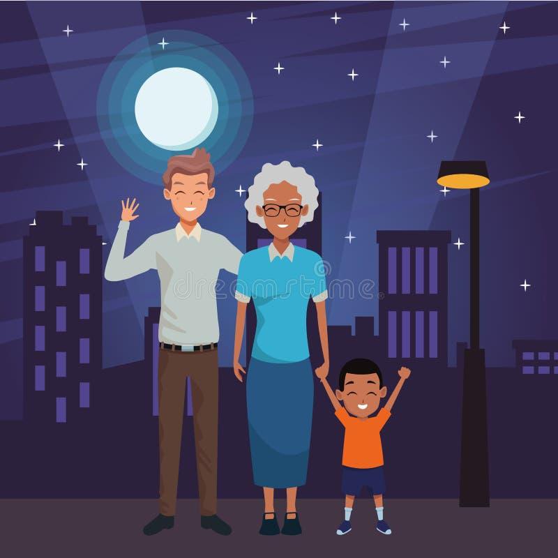 Padre della famiglia e mano della nonna con del ragazzo di afro illustrazione di stock