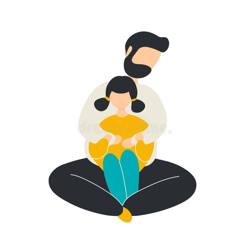 Padre di amore che abbraccia figlia da dietro illustrazione di stock