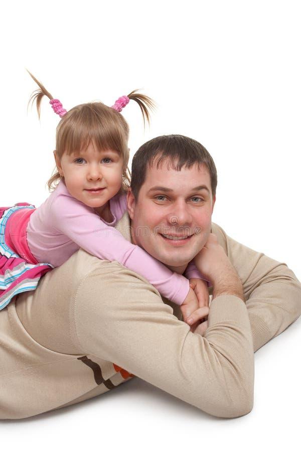 Padre e figlia allegri immagini stock