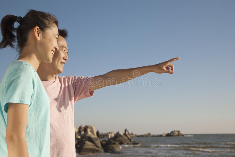 Padre e figlia che indicano e che guardano il mare fotografia stock