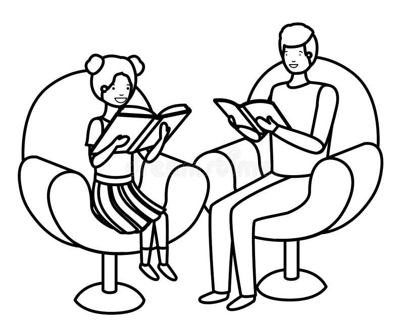 Padre e figlia che si siedono sul sofà con il carattere dell'avatar del libro illustrazione di stock