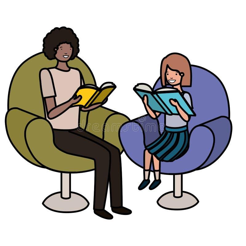Padre e figlia che si siedono sul sofà con il carattere dell'avatar del libro royalty illustrazione gratis