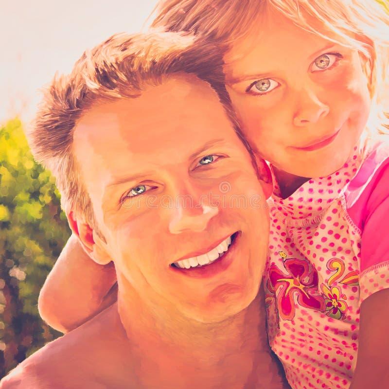 Padre e figlia che stringono a sé fotografia stock libera da diritti