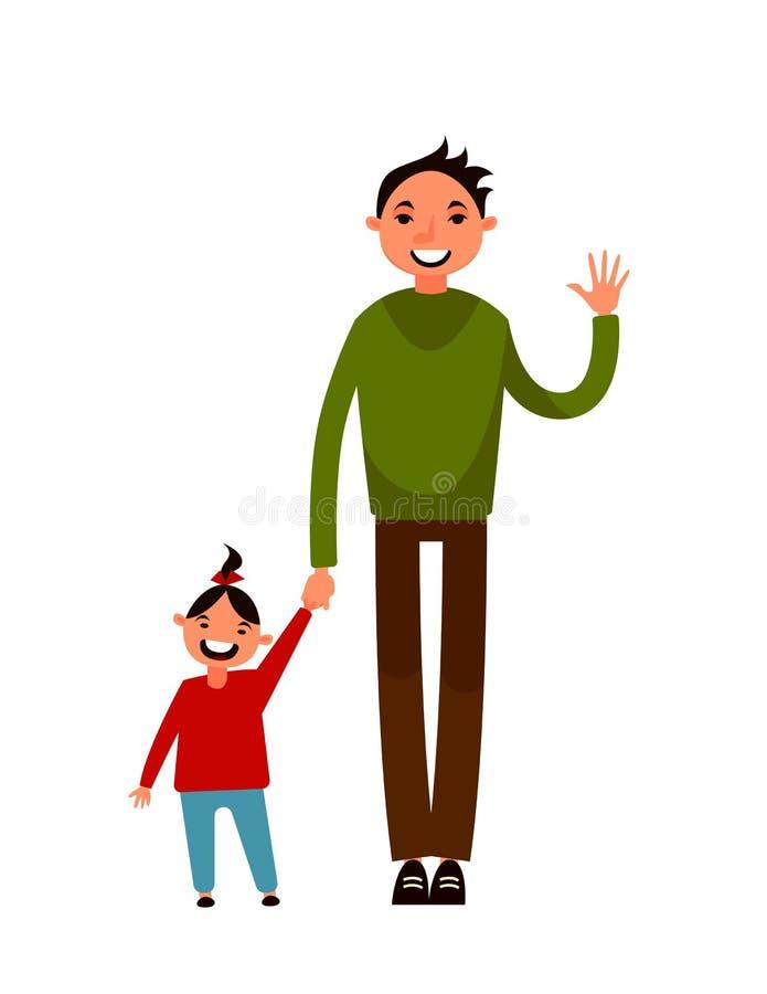 Padre e figlia Personaggio dei cartoni animati Illustrazione di vettore Progettazione piana fotografia stock libera da diritti