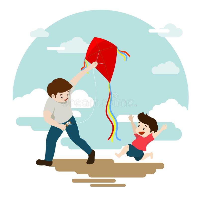 Padre e figlio che giocano aquilone rosso sul fondo del cielo blu royalty illustrazione gratis