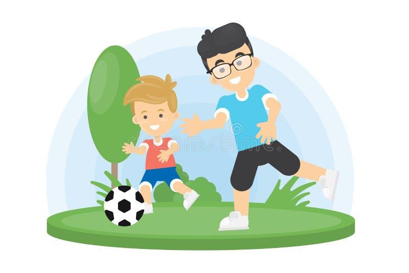 Padre e figlio che giocano gioco del calcio illustrazione di stock