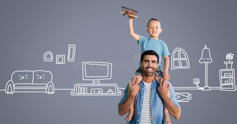 Padre e figlio divertendosi gioco con i disegni domestici fotografia stock libera da diritti