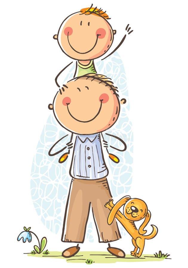 Padre e figlio divertendosi, illustrazione di vettore illustrazione di stock