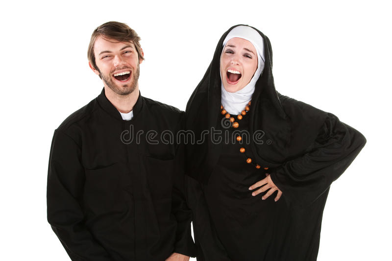 Padre e freira do divertimento imagem de stock royalty free