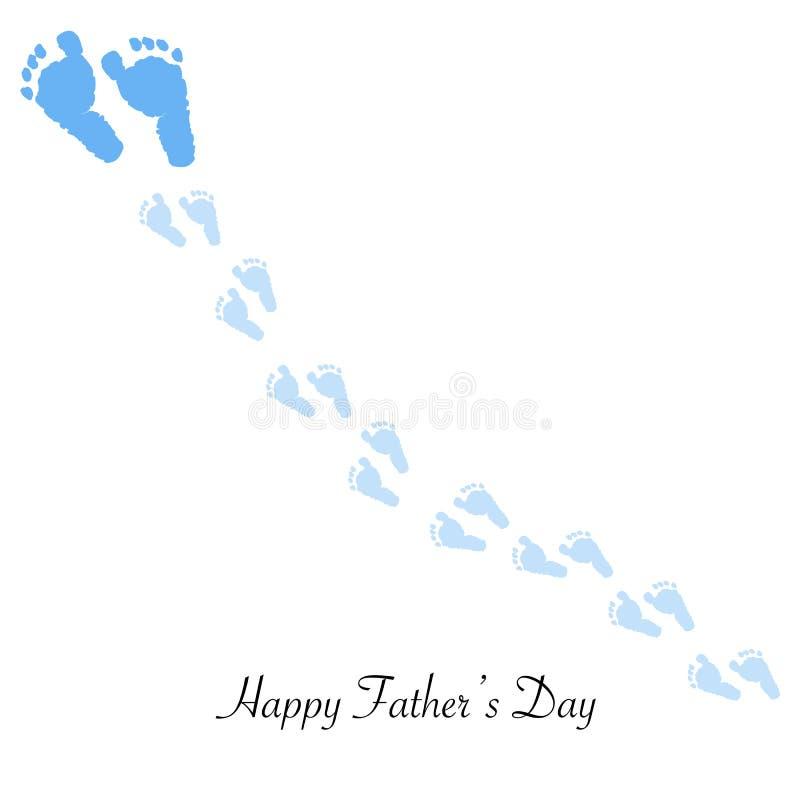 Padre e hijo El pie imprime pasos del pie Fondo de la tarjeta de felicitación del día del ` s del padre ilustración del vector