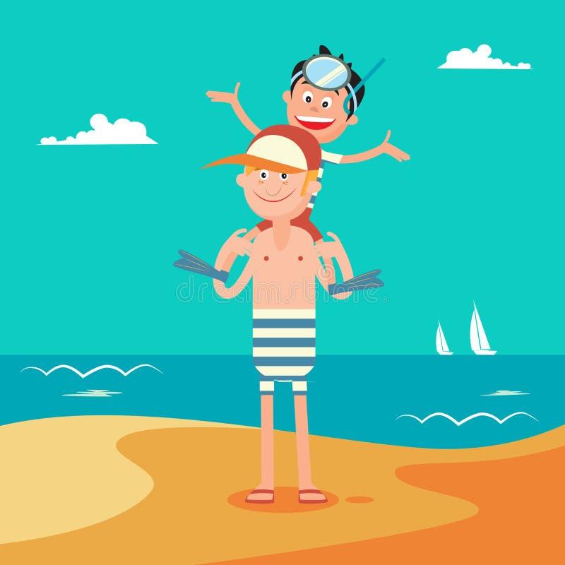 Padre e hijo el vacaciones de la playa del verano Familia feliz en el mar stock de ilustración