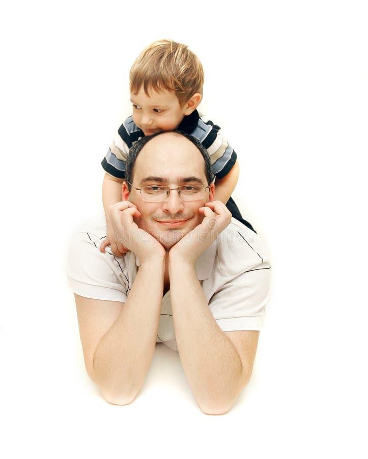 Padre e hijo felices imagen de archivo