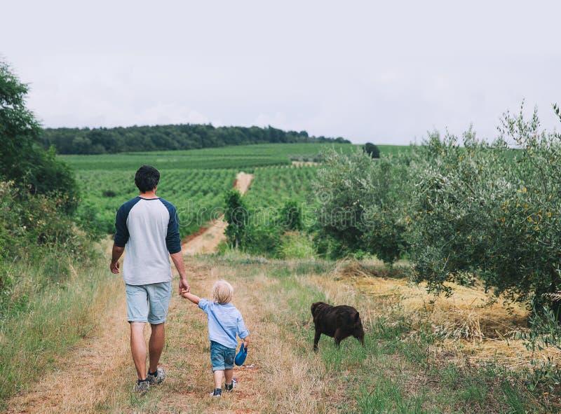 Padre e hijo que caminan con el perro en la naturaleza, al aire libre fotos de archivo