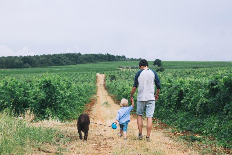 Padre e hijo que caminan con el perro en la naturaleza, al aire libre fotos de archivo libres de regalías