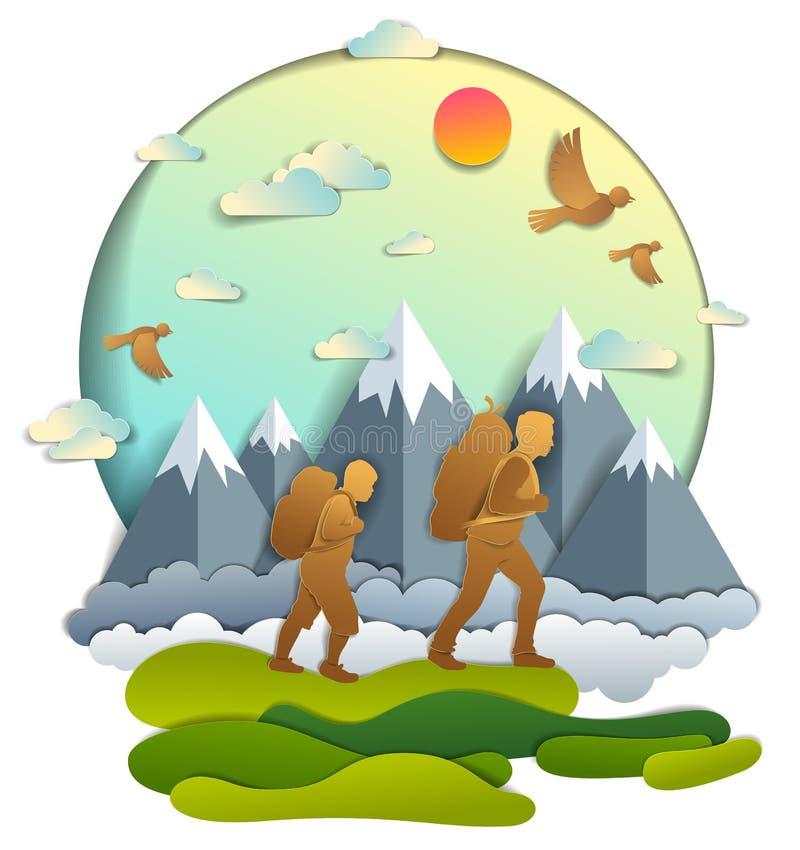 Padre e hijo que caminan a la naturaleza con la cordillera, hombres activos, stock de ilustración
