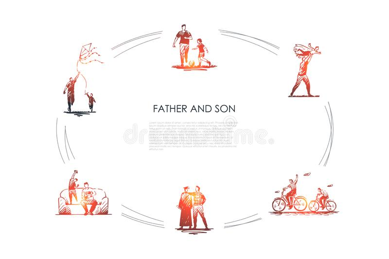 Padre e hijo - padre e hijo que juega al f?tbol, bicicletas que montan, kiting, jugando en sistema de la naturaleza y en casa del libre illustration