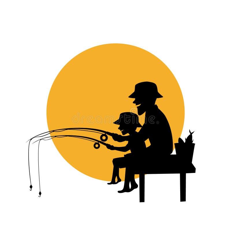 Padre e hijo que pescan junto la silueta aislada del ejemplo del vector ilustración del vector