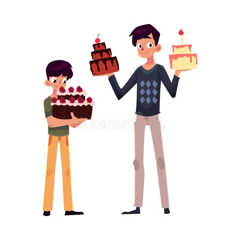 Padre E Hijo Que Sostienen Las Tortas De Cumpleaños, Consiguiendo ...
