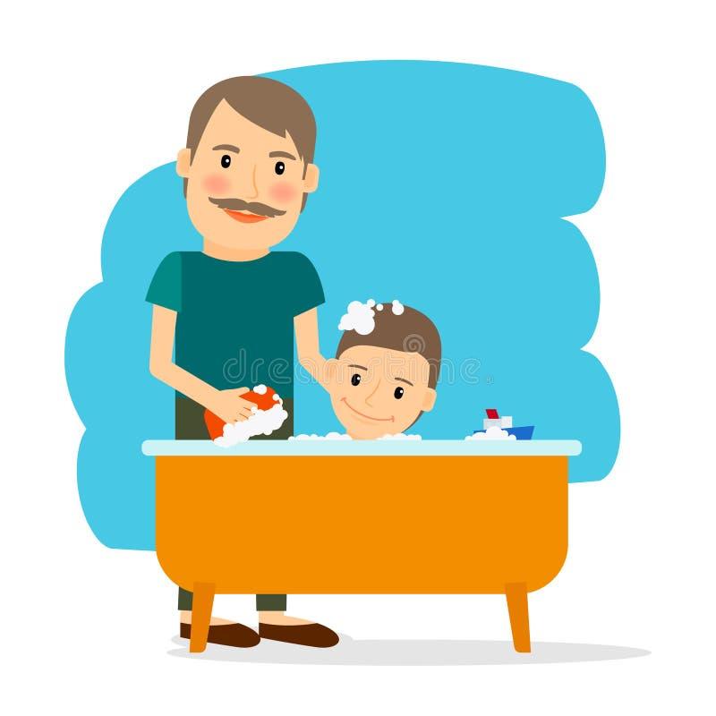 Padre e hijo que toman el baño stock de ilustración