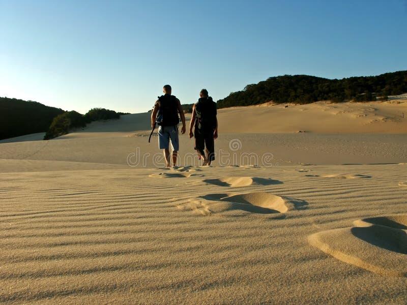 Padre e hijo que van de excursión la isla del fraser imagen de archivo