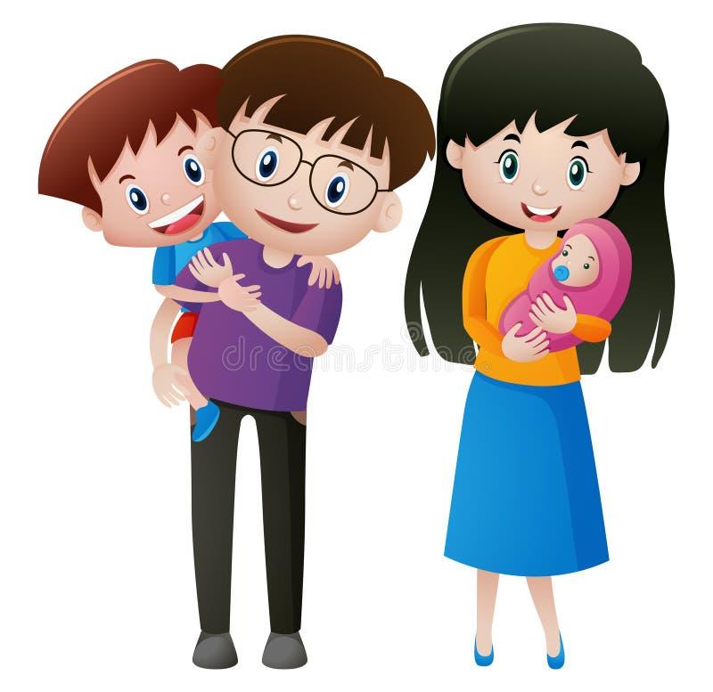 Padre e madre con due bambini illustrazione vettoriale