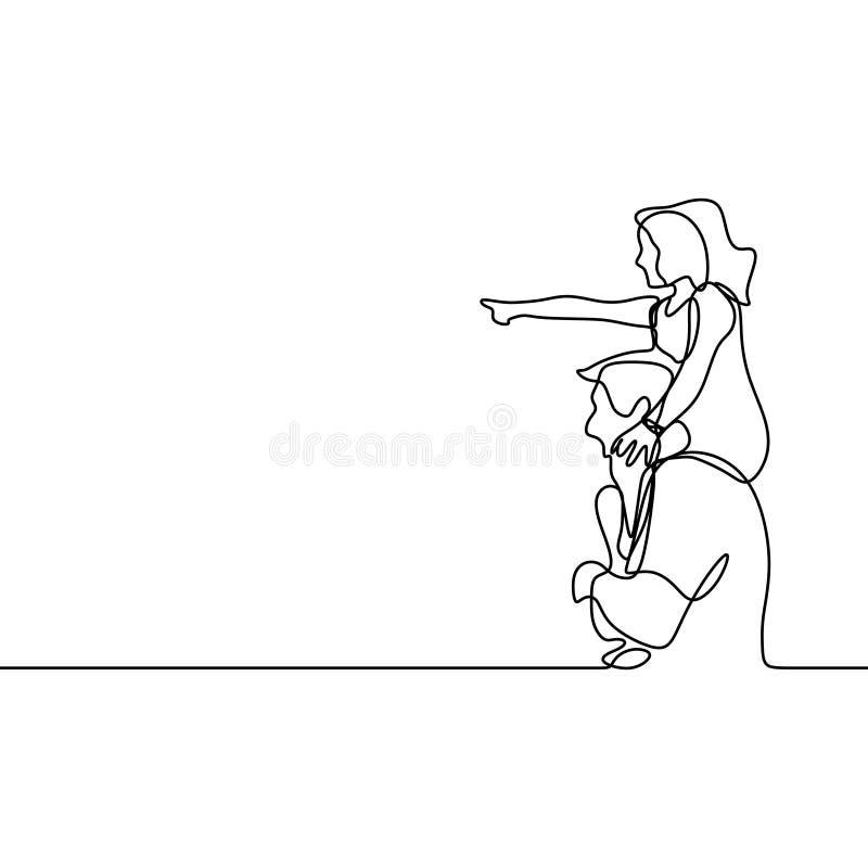 Padre e suo continuo progettazione minima della figlia un dell'illustrazione di vettore del disegno a tratteggio royalty illustrazione gratis
