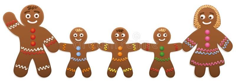 Padre Family de la madre de los niños del hombre de pan de jengibre ilustración del vector