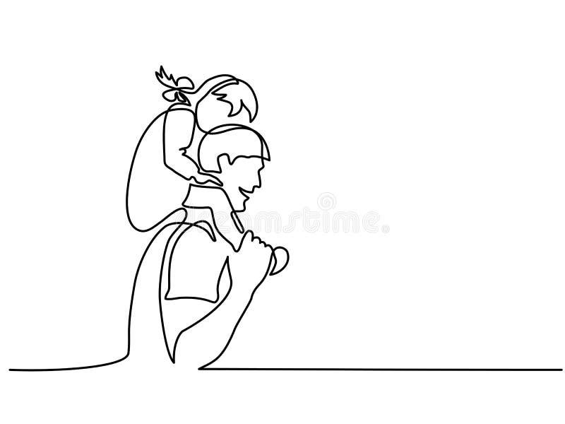 Padre feliz con la pequeña hija en hombros libre illustration