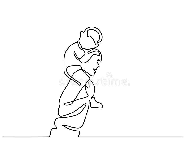 Padre feliz con la pequeña hija en hombros stock de ilustración