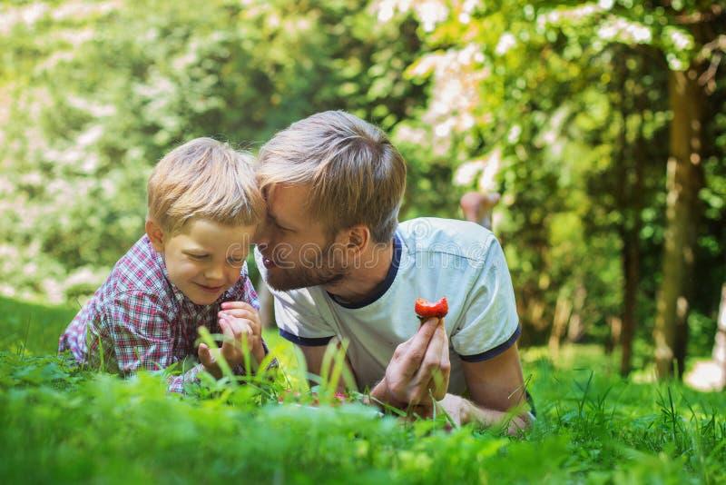 Padre feliz e hijo de la foto del verano junto que mienten en hierba verde fotografía de archivo
