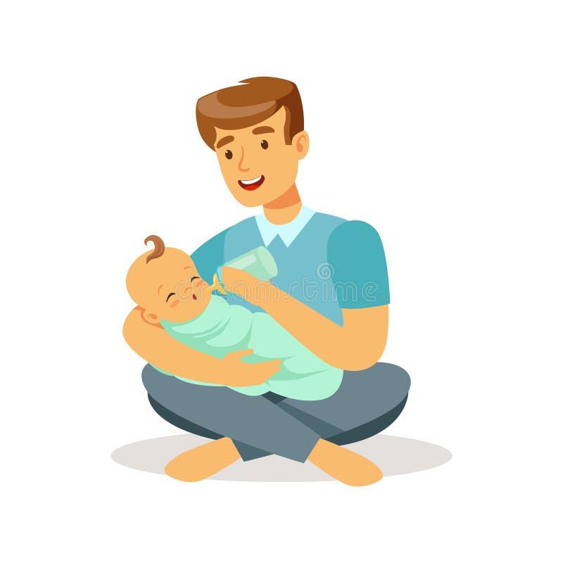 Padre feliz que se sienta en el piso con su bebé y que lo alimenta con el ejemplo colorido del vector de la botella de leche libre illustration