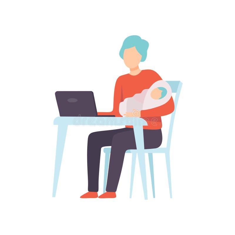 Padre Holding Newborn Baby en sus manos y funcionamiento en el ordenador portátil, padre que toma cuidado de su vector del niño ilustración del vector