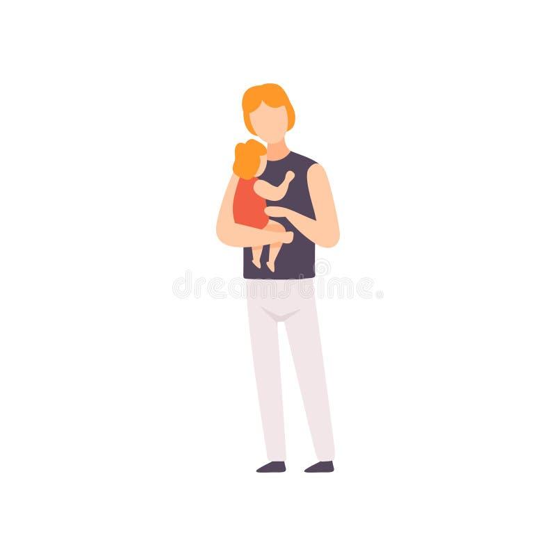 Padre Holding Toddler Baby sulle sue mani, genitore che prende cura della sua illustrazione di vettore del bambino illustrazione di stock