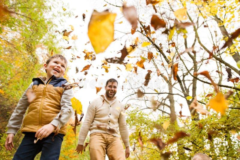 Padre joven con su hijo en bosque del otoño foto de archivo