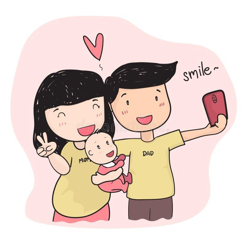 Padre joven de dibujo de la familia feliz que toma la foto del selfie con el bebé imagenes de archivo