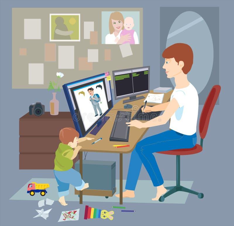 Padre joven, hombre que trabaja de hogar, freelancer stock de ilustración