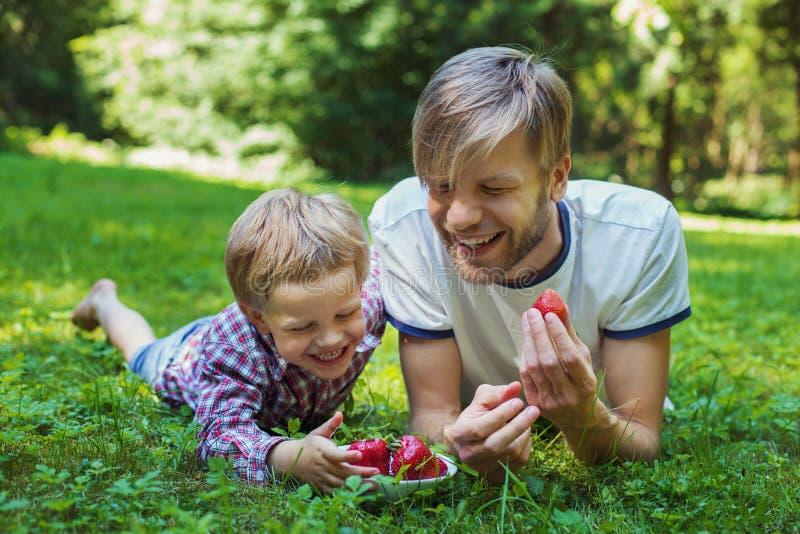 Padre joven y su hijo que comen las fresas en parque Comida campestre Retrato al aire libre fotos de archivo