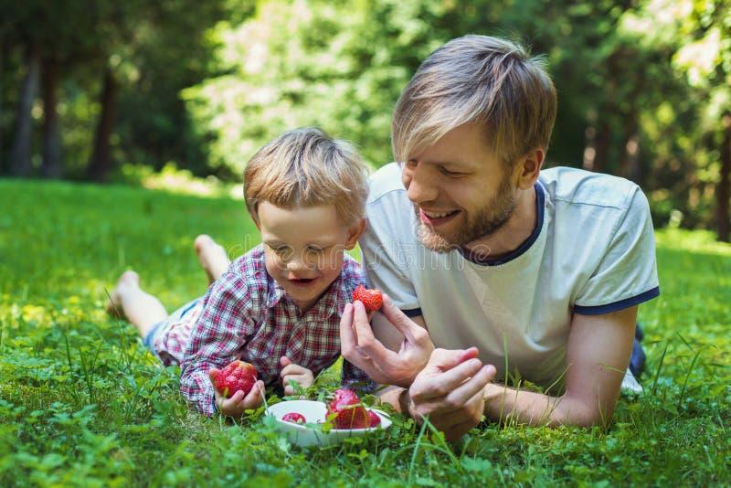 Padre joven y su hijo que comen las fresas en parque Comida campestre Retrato al aire libre imágenes de archivo libres de regalías